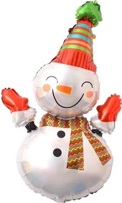 Фольгированный шар Снеговик в полосатой шапке, 85 см Китай