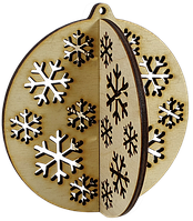 Новогоднее украшение Шарик со снежинками 3D 10 см AS-4255, F-0133