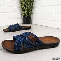 """Шлепанцы мужские, синие """"Ayder"""" текстильные, шлепки мужские, тапочки мужские, вьетнамки мужские, обувь летняя"""