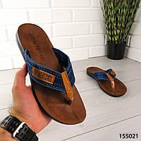 """Вьетнамки мужские, синие """"Maydele"""" текстиль, шлепки мужские, тапочки мужские, шлепанцы мужские, обувь летняя"""