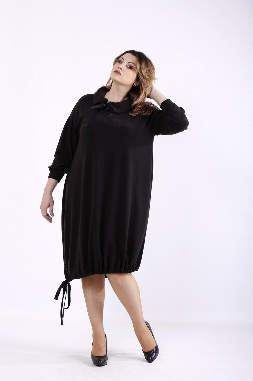 ❤/ Женское черное платье из ангоры 01315 / Размер 42-72 / Батал