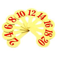Веер Цифр от 1 до 20, желтый пластик AS-0004, К-7371
