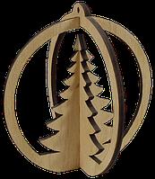 Новогоднее украшение Шарик с Елочкой 3D 9 см AS-4259, F-0139
