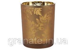 Подсвечник стеклянный с рисунком Листья, цвет - коричневый , 12,5см
