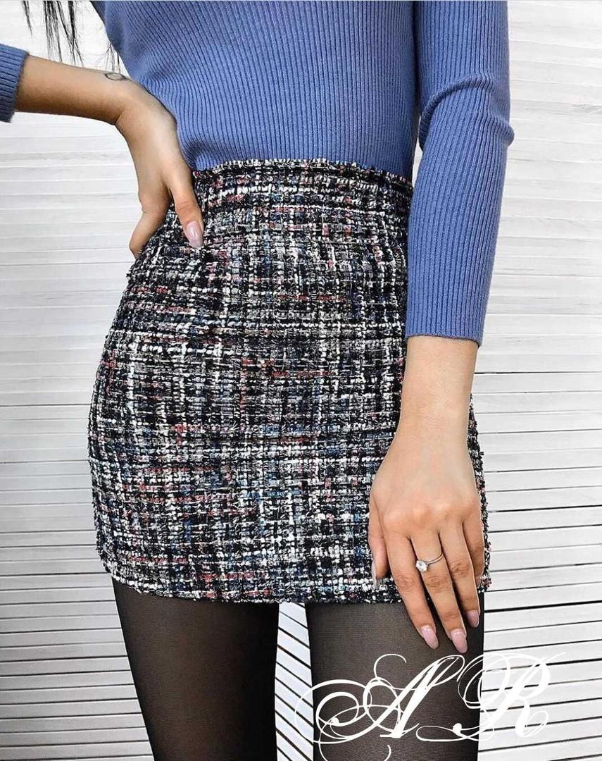 Женская стильная юбка букле,черного цвета