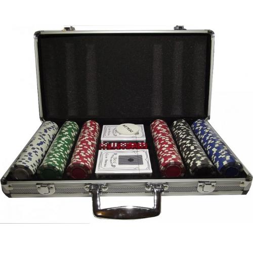 Покерный набор 300 фишек в кейсе алюминиевом с кнопкой дилера без номинала