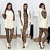 Шикарний домашній жіночий комплект 4ка: піжама лео+махрова жилетка+махрові балетки р. 42-48. Арт-4833