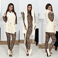 Шикарный домашний женский комплект 4ка: пижама лео+махровая жилетка+махровые балетки р.42-48. Арт-4833