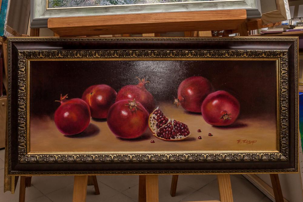 """""""Гранаты"""" холст 30х80 картина масло"""