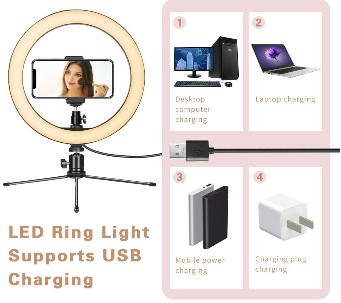 LED кольцо 10 дюймов с мини штативом для крепление на столе