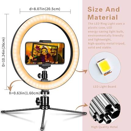LED кольцо 10 дюймов с мини штативом для крепление на столе, фото 2