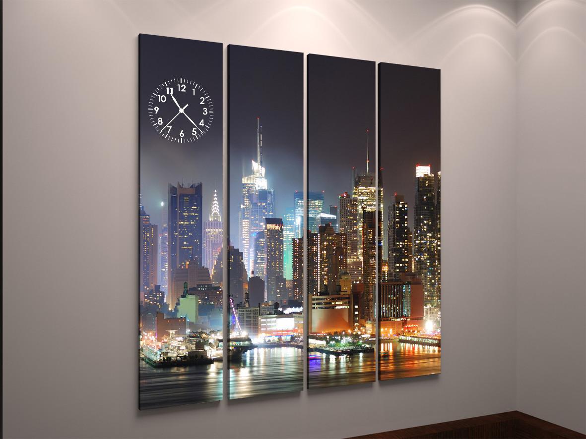 Картина часы холст ночной город