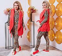 Шикарный домашний женский комплект 4ка: пижама лео+махровая жилетка+махровые балетки р.50-52. Арт-4833