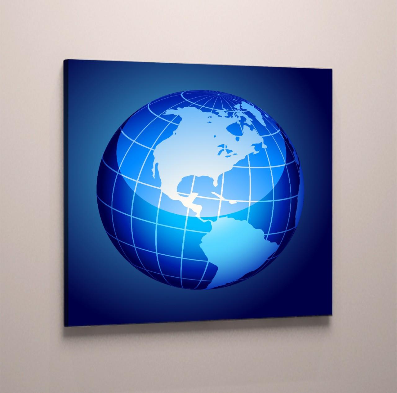 Модульная картина на холсте карта мира глобус синий голубой