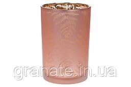 Подсвечник стеклянный с рисунком Папоротник, цвет - пастельный розовый, 18см