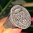 Серебряное мужское кольцо с гербом и львом, фото 8
