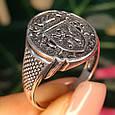 Серебряное мужское кольцо с гербом и львом, фото 7