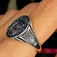 Серебряное мужское кольцо с гербом и львом, фото 6