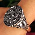 Серебряное мужское кольцо с гербом и львом, фото 2
