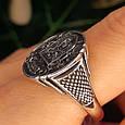 Серебряное мужское кольцо с гербом и львом, фото 5