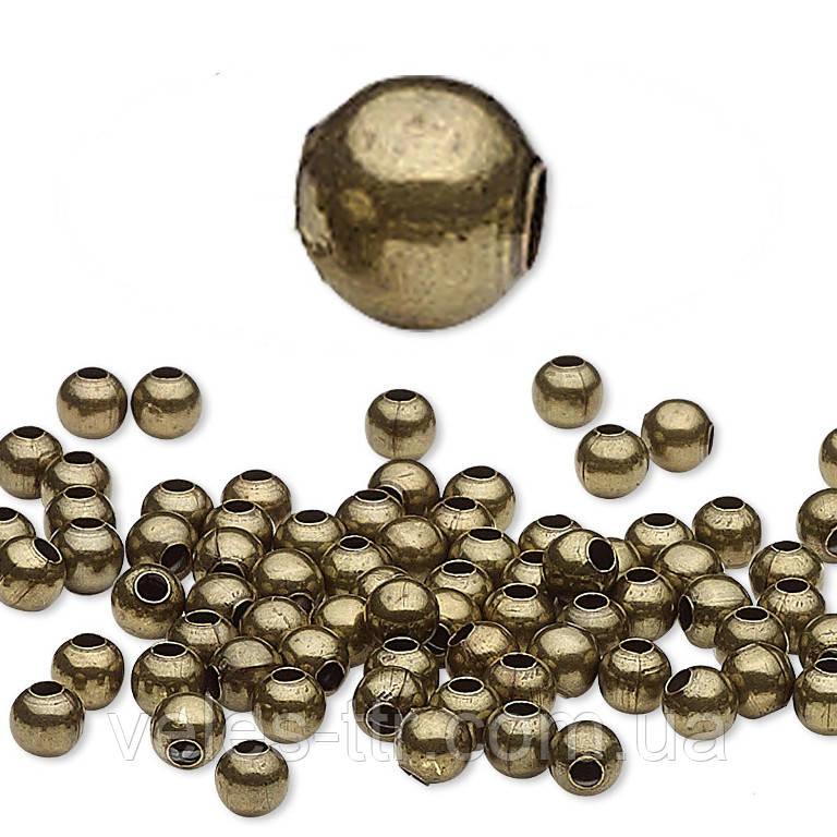 Намистина спейсер металева Куля роздільник бронза 2,4 мм 100 шт латунь