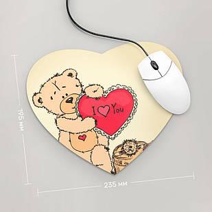 Коврик для мыши Сердце  Тедди ,  I Love You