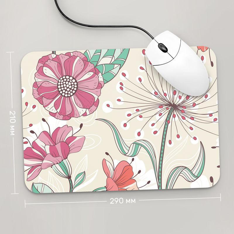 Коврик для мыши 290x210  Цветы №10  (растения, цветы, флора, узоры)