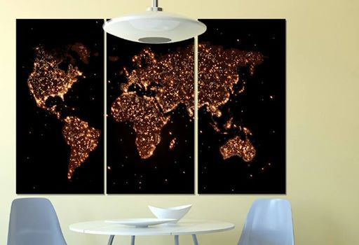 Фотокартина модульная ночная карта мира