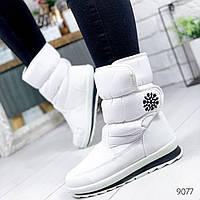 Сапоги дутики женские Снежинка G белые 9077, фото 1