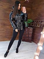 "Тёплый пуховик женский в стиле   ""ienki ienki"" черного цвета"