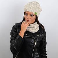 Стильный женский комплект Энди - шапка и шарф хомут, бежевый