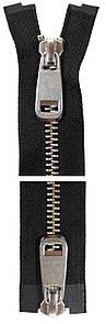 Молния YKK Metal Zipper Standard | 100 см | Тип 5 | 2 бегунка | разъемная | серебро