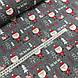 Ткань польская хлопковая, Санта Клаус с подарками в красных тонах на графитовом, фото 2