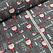 Ткань польская хлопковая, Санта Клаус с подарками в красных тонах на графитовом, фото 3