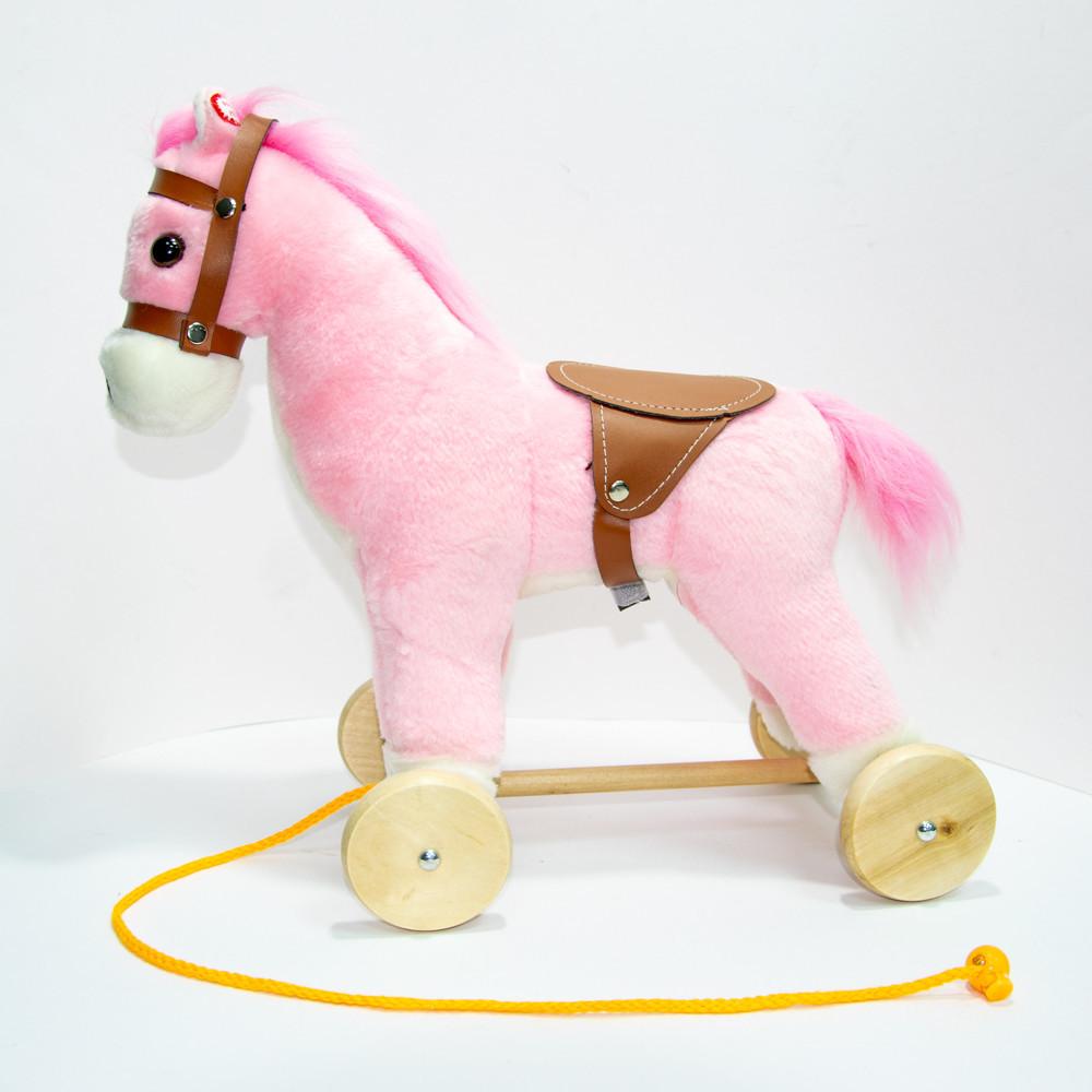 Деревянная плюшевая лошадка на колесиках, Розовая - лошадь на колесах детская (высота - 30 см)