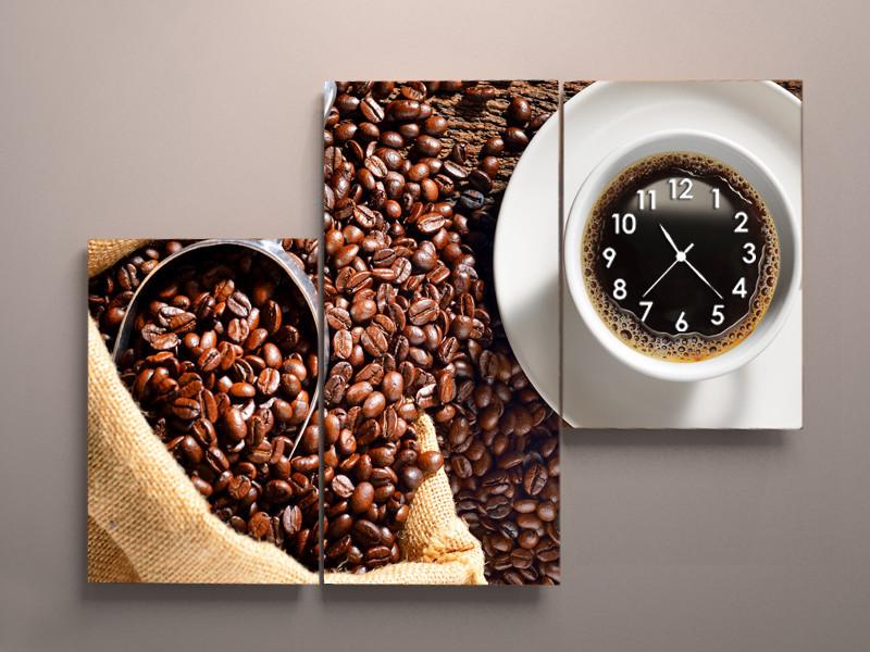 Модульна картина на полотні з годинником Кави