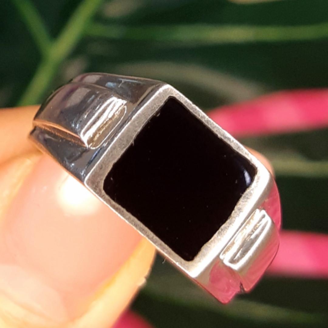Мужское серебряное кольцо с эмалью - Мужская печатка серебро