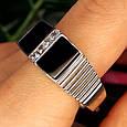Мужское серебряное кольцо с ониксом - Мужская печатка серебро, фото 7