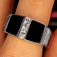 Мужское серебряное кольцо с ониксом - Мужская печатка серебро, фото 5