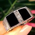 Мужское серебряное кольцо с ониксом - Мужская печатка серебро, фото 3