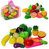 Фрукты 2018 А, овощи, на липучке, тарелка, досточка, нож, 2 вида, в сумке, 22-14-7см