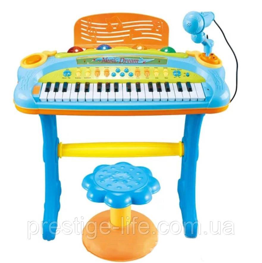 Детский обучающий синтезатор с микрофоном и стульчиком 6617А