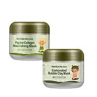 Маска для лица кислородная пузырьковая очищающая и отшелушивающая BIOAQUA Skin Care Carbonated Bubble Clay Mas