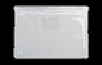 Папка-конверт А5, пласт. молния, белый