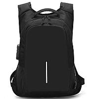 Рюкзак антивор черный с кодовым замком непромокаемый с USB для зарядки легкий тканевый 364В