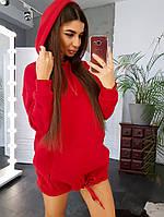 Женский удлиненный худи с капюшоном на завязках