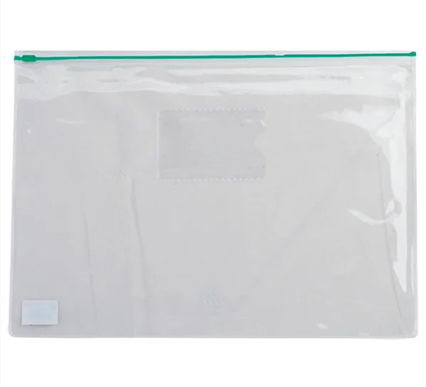 Папка-конверт А5, пласт. молния, зеленая