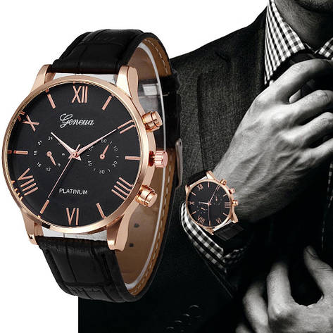 """Чоловічі наручні годинники """"Geneva"""" (коричневий ремінець), фото 2"""