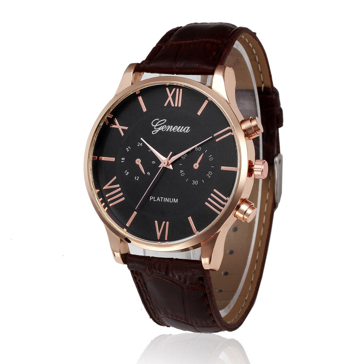 """Чоловічі наручні годинники """"Geneva"""" (коричневий ремінець)"""