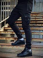 Штаны мужские теплые на флисе черные, брюки карго Flash